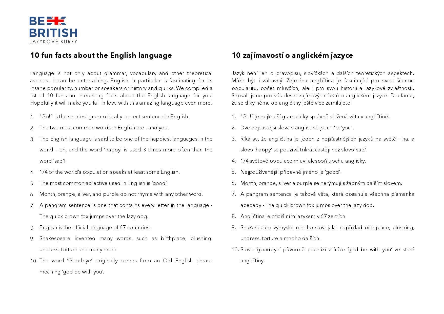 FUN FACTS ABOUT ENGLISH / ZAJÍMAVOSTI O ANGLIČTINĚ